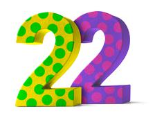 Colorful Paper Mache Number on a white background  - Number 22 - stock photo