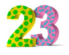 Colorful Paper Mache Number on a white background  - Number 23 - stock photo