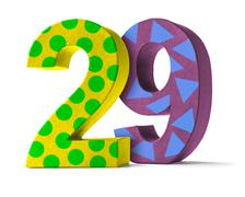 Colorful Paper Mache Number on a white background  - Number 29 - stock photo
