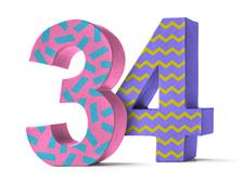 Colorful Paper Mache Number on a white background  - Number 34 - stock photo
