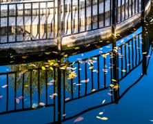 Pond and Metal Railing Reflection - stock photo
