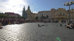 Man performing for tourists in the Old Town Square, Prague Stock Footage