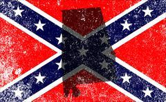 Rebel Civil War Flag With Alabama Map Stock Illustration