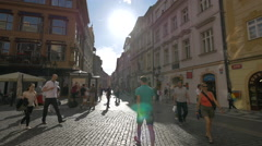 Walking on Celetná Street in Prague Stock Footage