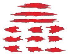 Set of blood puddle, drop, blots, stain, red plash od blood. Vector illustrat - stock illustration