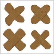 Set of Adhesive, flexible, fabric plaster for dark skin. Medical bandage in d Stock Illustration