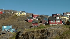 Greenland small town Qaqortoq 087 colorful houses on a mountain Stock Footage