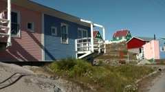 Greenland small town Qaqortoq 084 colorful houses in upper village Stock Footage