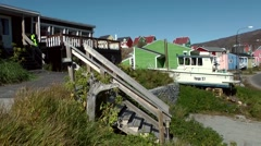 Greenland small town Qaqortoq 081 rustic stairs to the upper houses Stock Footage