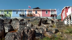 Greenland small town Qaqortoq 079 colorful houses build on a rock Stock Footage