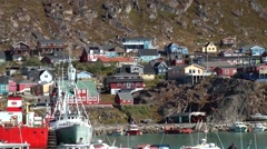 Greenland small town Qaqortoq 075 colorful houses at the waterfront Stock Footage