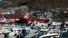 Greenland small town Qaqortoq 074 harbor side of idyllic small town Stock Footage