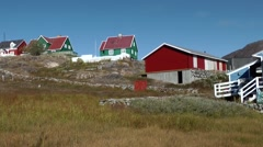 Greenland small town Qaqortoq 068 wooden Scandinavian houses on bare hill - stock footage