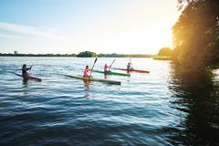 Team of sports kayaks - stock photo