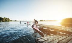 Elite sports rowing team Stock Photos