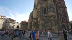 Crowd near the Prague Astronomical Clock Stock Footage