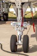 Landing gear. Front part of chassis of aircraft closeup - stock photo