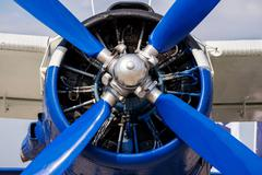 Fragment propeller and airplane engine close-up. Screw plane - stock photo