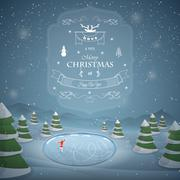 Winter Christmas landscape vector illustration. - stock illustration