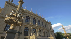 The beautiful lamp posts and facade of Czech Philharmonic, Prague Stock Footage