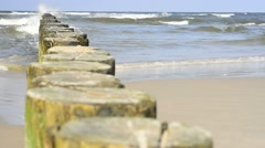 Baltic Sea in Poland with groynes and surf Stock Footage