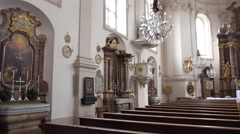 4k St. Sebastian church indoor Salzburg Austria Stock Footage