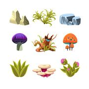 Cartoon Mushrooms, Stones, and Bushes Set Vector Illustration - stock illustration