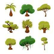 Cartoon Trees, Leaves and Bushes Set Vector Illustration - stock illustration