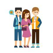Stock Illustration of Girl and Boys Making a Selfie, Communicating in Social Media Vector Illustration