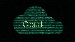 Cloud computing network concept with text - stock footage