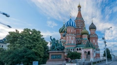 View of the St. Basil's Cathedral and monument to Minin and Pozharsky on Red Stock Footage