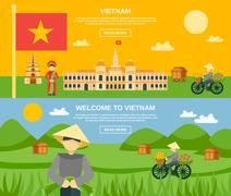 Vietnam Banner Set - stock illustration