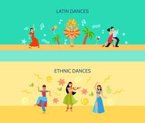 Horizontal Flat dance Style Banners Stock Illustration