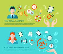 Technical Assistance And Support Banners Stock Illustration