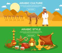 Arabic Culture Banner - stock illustration