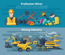 Mining Banner Set - stock illustration