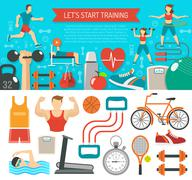 Fitness Banner Horizontal - stock illustration