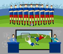 Soccer team 2 flat banners set - stock illustration