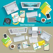 Work Place Banner Set Stock Illustration