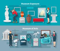Museum Banner Set Stock Illustration
