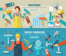 Home Repair Banner Set - stock illustration