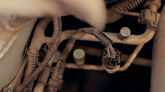 Mechanical diagnosis, auto repair vehicle check for faults and the  availability Stock Footage