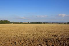 wolds view and wind turbine - stock photo