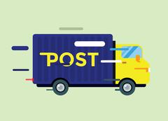 Delivery vector truck. service van silhouette - stock illustration