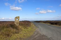 moorland road with monolith - stock photo