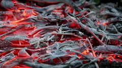 Red Hot Сoals flickering in the Fire - stock footage