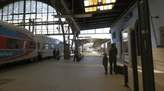 Train stopped in Prague main railway station Stock Footage