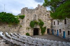 Amphitheatre in open air in courtyard near gate of Old Bar, Montenegro Stock Photos