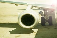 close up on airplane engine - stock photo