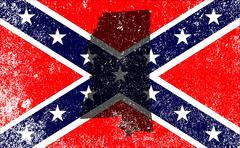 Rebel Civil War Flag With Mississippi Map Stock Illustration